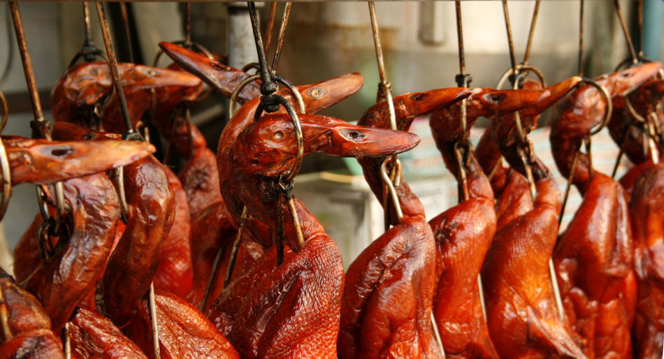 Duck roast is hang Duck China Market Roast Chinatown Bird Hanging Chinese Snack East Poultry Roasted Traditional ASIA Peking  Sale Meet Grilled Smoked Cuisine Cooked Cooking Crispy Asian  Food Meat