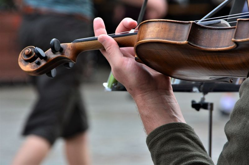 Cropped Image Musician Playing Violin