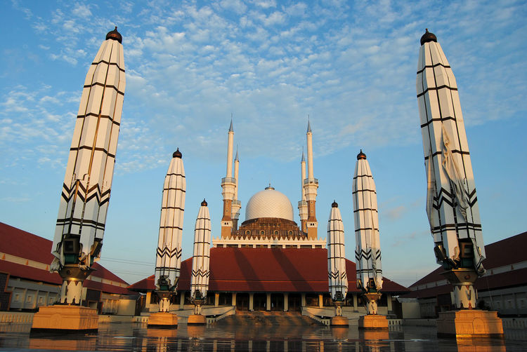 Great mosque of Central Java, Semarang INDONESIA Reflection Architecture Belief Building Building Exterior Built Structure Central Java City Day Dome Great Mosque Moslem Mosque Nature No People Outdoors Place Of Worship Religion Sky Spire  Spirituality Tourism Travel Travel Destinations