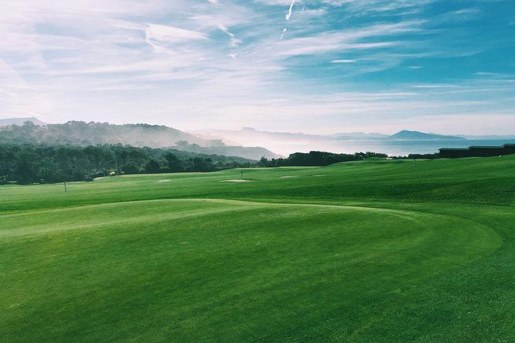Golfing season. Euskadi EyeEmEuskalherria Euskalherria Biarritz Ilbarritz Golfing Golf ⛳ Landscape_Collection Landscape_photography Landscape Ocean Hills