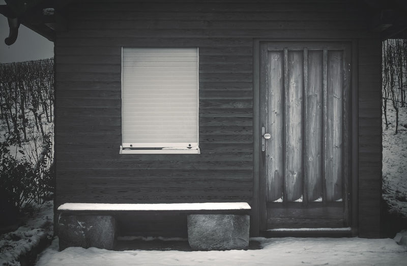 Snowy hut Hut Chalet House Home Cottage Cabin Façade Architecture Winter Snow Snowy Built Structure Building No People Entrance Day Building Exterior Door Window Wood - Material Closed Outdoors Cold Temperature Nature Empty Architectural Column Garage