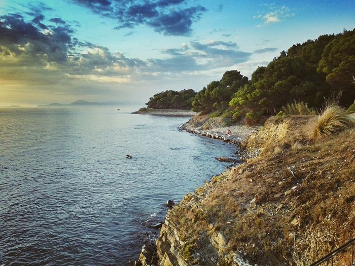 Atmosfer Beauty In Nature Blue Campania Italy Enjoying Life Sky Cliff Coastline Distant Exploring High Angle View Horizon Over Water Mountain Outdoors Punta Licosa Remote Rock Rock - Object Rock Formation Romanticismo Scenics Sea Tranquil Scene Voyage Water
