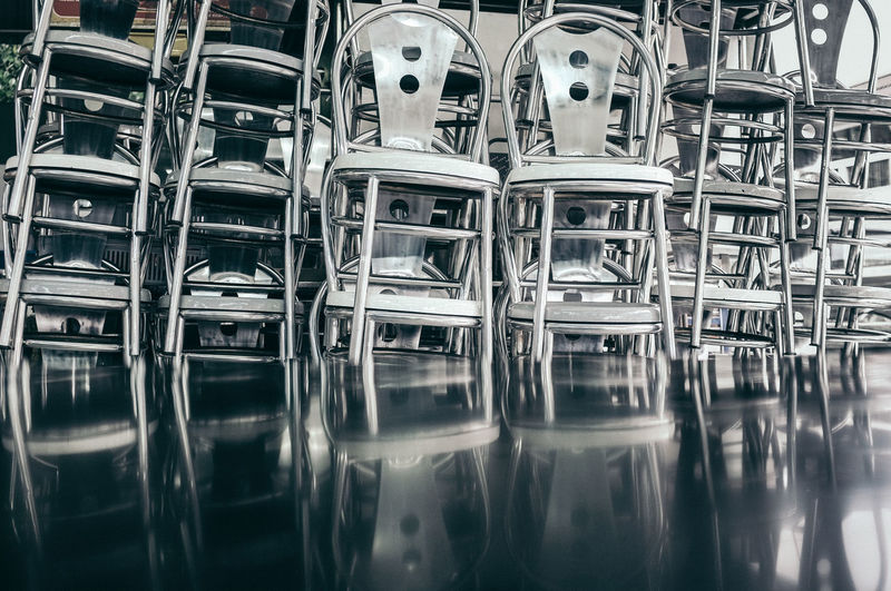 Stack of metal chair during the city lockdown