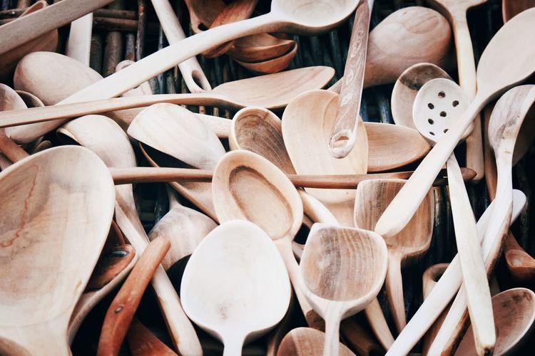 Full frame shot of wooden spatulas