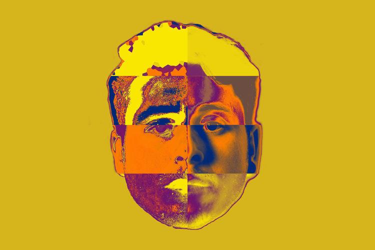 Digital composite image of mannequin against orange background