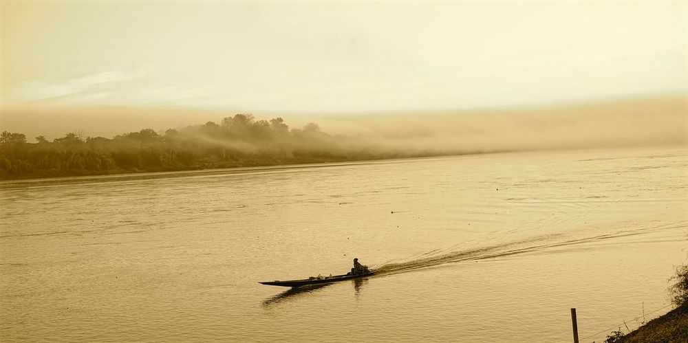 Boat Loei Loei,thailand Morning Routine River Sepia Sepia Photography Sepia_collection Suburban Landscape Thailand