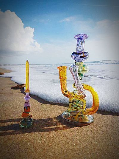 Sky Beach Sea Cloud - Sky Sand Scenics Tourism Horizon Over Water Nature Outdoors No People Water Day Glass Bong Water Pipe Hubbly-bubbly Hand Made Hand Blown Glass