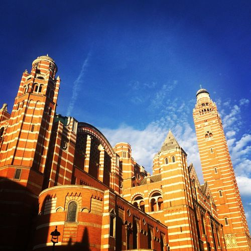 Low angle view of westminster cathedral against sky