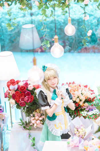 Flowers for someone's smile Minami Kotori Lovelive One Woman Only Flower Happiness Smiling Indoor Bouquet Maid Costume 85mm Cosplay Portrait Girl Sony Sonyphotography Sony A6000 Malaysia Alphauniverse Sonyimages Asdgraphy