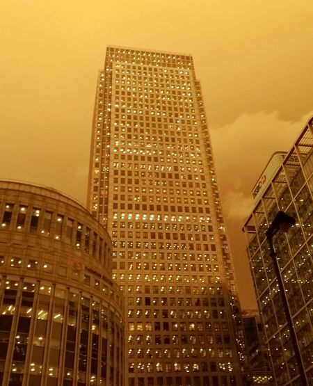 Storm Ophelia tints London Yellow. Skyscraper City No People Sky Modern Business Finance And Industry Architecture Yellow Storm Weather Hurricane Tropical Storm Dust In The Wind No Filter Photo Journalism Mobile Photography
