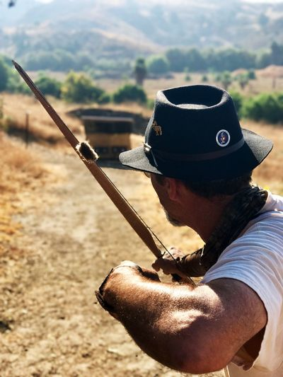 Longbowman at work! Longbow Archer Bow And Arrow Traditional Archery Field Archery Simi Valley, CA Conejo Valley Archers Target Shooting
