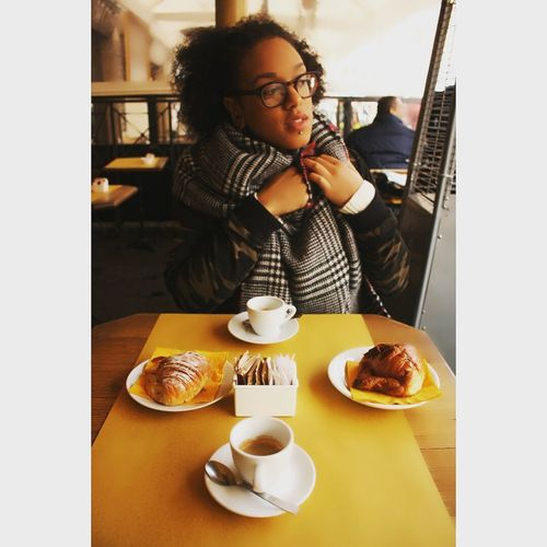 Coffee - Drink Cafe Croissant Food And Drink Breakfast People Eyeglasses  Only Women One Person Table Rome Italy🇮🇹 Traveler Photography Mixed Girl Wireless Technology Communication Smart Phone Portable Information Device Adults Only Technology Connection Adult Sweet Food Indoors
