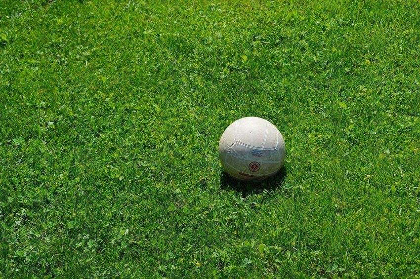Grass Green Color Sport Ball Playing Field High Angle View Day Outdoors No People Grass Area Soccer Nature Soccer Field Competition Competitive Sport Close-up