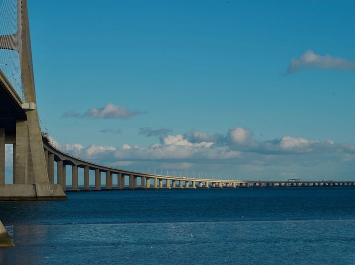 Sky Built Structure Cloud - Sky Architecture Water Nature No People Sea Blue Day Transportation Bridge Waterfront Outdoors Railing Scenics - Nature Connection Building Exterior Bridge - Man Made Structure Long The Other Side See You Blue Sky Blue Sea