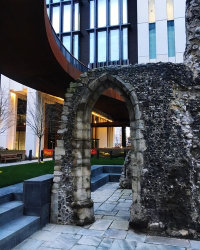 London Wall Old And New Landmark Historic Ruins Ancient London Wall Architecture Built Structure Window Day No People Building Exterior Indoors