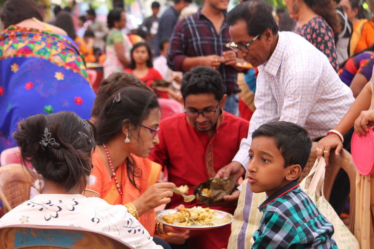 Family having food during celebration