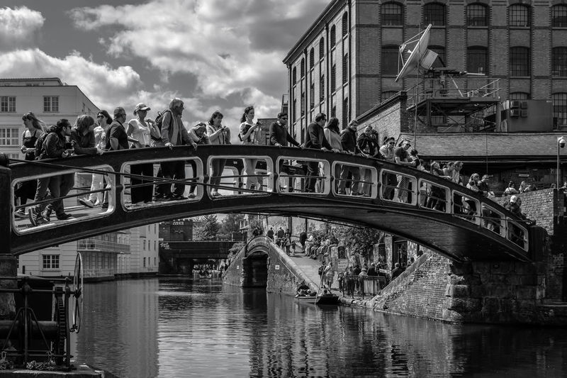 Architecture Built Structure Bridge Building Exterior Bridge - Man Made Structure Connection Water Group Of People City Arch Transportation Sky Arch Bridge Nature River Large Group Of People Cloud - Sky Waterfront Crowd Outdoors Footbridge Passenger Craft London Camden Town Camden Lock Camdenmarket Canal Black And White People