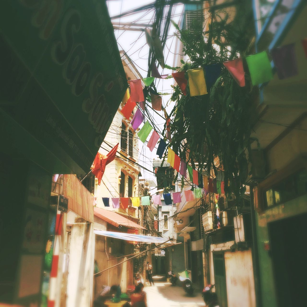 Low Angle View Of Narrow Alley