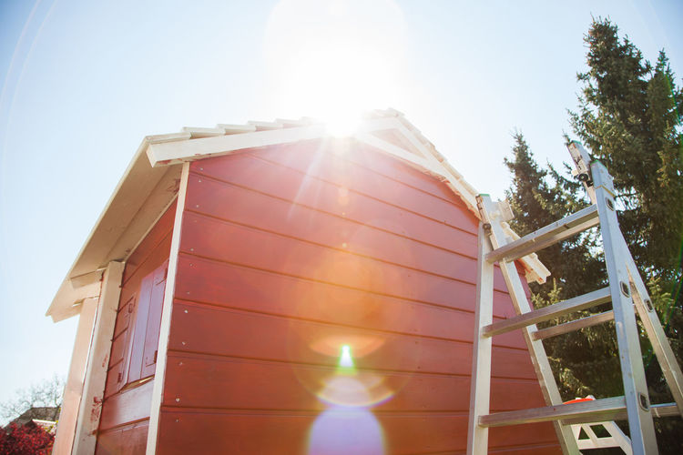 Tree house with ladder in the garden. Architecture Built Structure Cabin Carpentry Cottage Garden House Hut Ladder Lens Flare Lodge Outdoors Shack Sun Sunlight Tree House