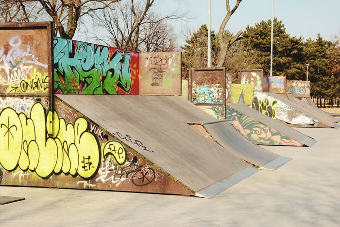 Tree Day Built Structure Outdoors Architecture No People Shadow Multi Colored Building Exterior Sky Bare Tree Skateboard Park Belgrade,Serbia Ušće Tower Beograd Art Is Everywhere