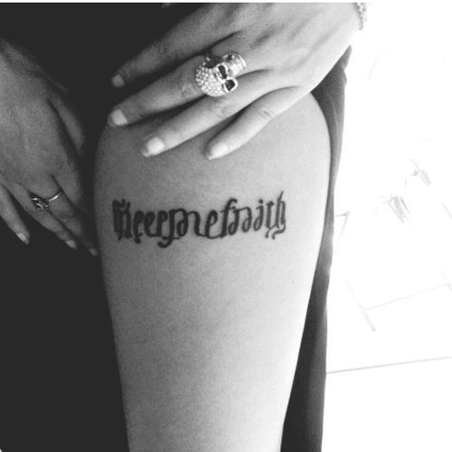 Leg Tattoo Keepthefaith Ambigram