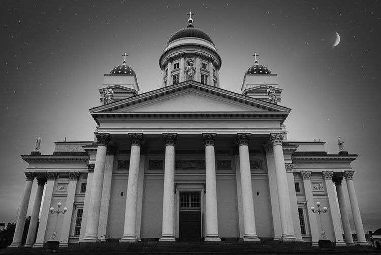 May a miracle deliver you from your faith The Week On EyeEm Dark Monochrome Bnw Black And White Helsinki Finland No People Outdoors Religion Sky Architecture Building Church Cathedral Tuomiokirkko Stars Moon Night Travel Tourism Architectural Column Urban Geometry Religious Architecture Religious  The Architect - 2018 EyeEm Awards Capture Tomorrow The Architect - 2019 EyeEm Awards