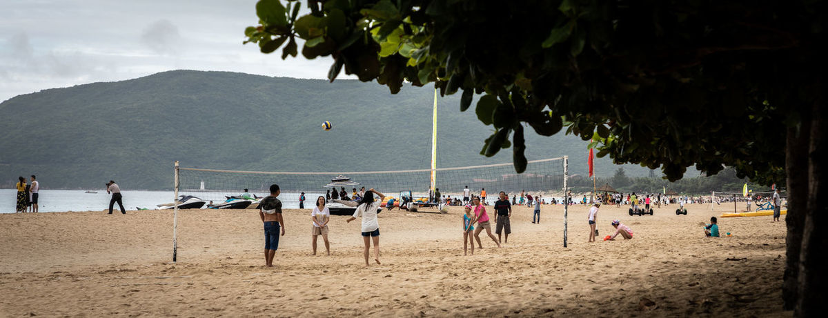 EyeEmSelect WeekOnEyeEm Beach Day Group Of People Land Leisure Activity Nature Net - Sports Equipment Playing Real People Sand Sport Team Sport Tree Volleyball - Sport