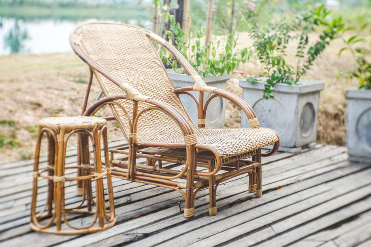 Cafe Seat Chair Wicker Table Furniture No People Absence Wood - Material Focus On Foreground Empty Day Nature Relaxation Plant Bench Outdoors Basket Armchair Brown Architecture