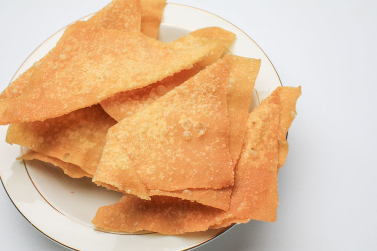 High angle view of bread in plate