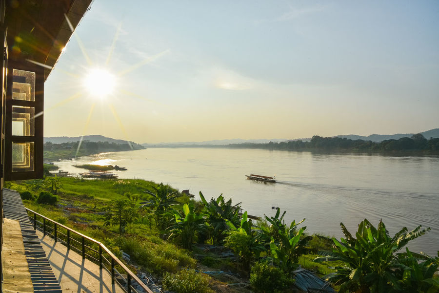 Beauty In Nature Boat Chaingkhan Happy Lake Lens Flare Loei Loei,thailand Mountain Nature Outdoors River Sky Sun Sunlight Travel Travel Destinations View Water
