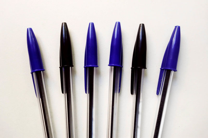 Selection of Black & Blue Crystal Bic Pens on a White Background Ballpoint Pen Bic Pen Choice Colours Copy Space Graphic Assortment Biro Close-up Coloured Indoors  No People Pens Still Life Studio Shot Various View From Above White Background