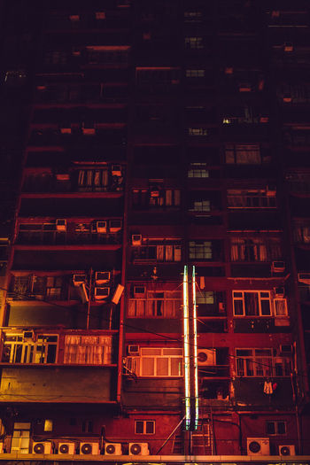 Hong Kong Streets Hong Kong Hong Kong City Apartment Architecture Backgrounds Building Building Exterior Built Structure City City Life Construction Industry Full Frame Illuminated Industry Lighting Equipment Low Angle View Modern Nature Night No People Outdoors Residential District Streetphotography Window