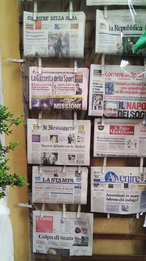 Newspaper Newspapers Italy Street Shop Shop Reading Italian Newspaper Summer Summertime Summer Views Information Full Frame Close-up Front View Communication Text Day No People Wallpaper Background Background Photography WallpaperForMobile Streetphotography Vacation Travel Mix Yourself A Good Time Your Ticket To Europe The Week On EyeEm EyeEmNewHere