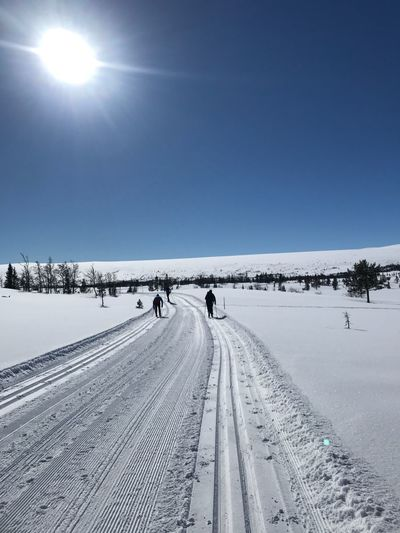 Norway Snow Cold Temperature Outdoors Tranquil Scene Nature Tranquility Sky Scenics Tire Track Clear Sky Beauty In Nature Winter Day People