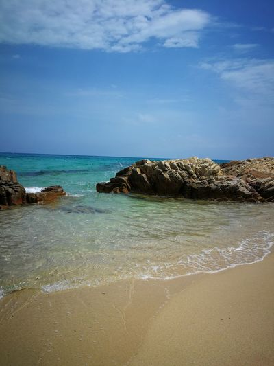 a paradise....🤗 Sardinia Sardegna Italy  Sardinia Sardegna Water Sea Beach Sand Wave Sky Horizon Over Water Seascape Coastline Coast Calm Sandy Beach Seashore Coastal Feature Rocky Coastline