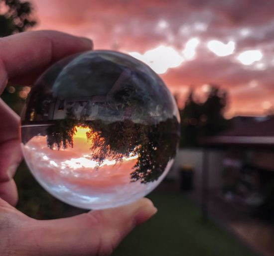 Pink sky Lensball Photography Lensball Nature Photography Reflection Sky Sphere Nature Close-up Cloud - Sky Sunset Ball Focus On Foreground Glass - Material Crystal Ball Transparent Outdoors Dusk