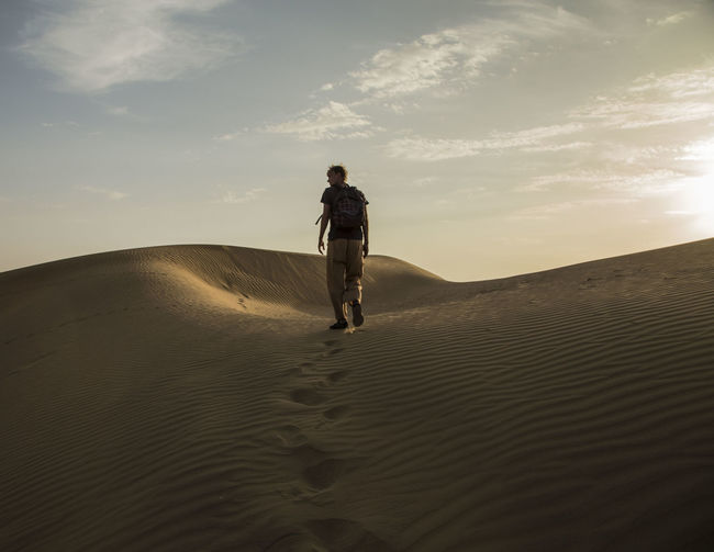 Connected By Travel India Indian Desert Lost In The Landscape Steps Adventure Arid Climate Desert Landscape Nature One Person Outdoors Sand Sand Dune Scenics Sky Steps In The Sand Walking