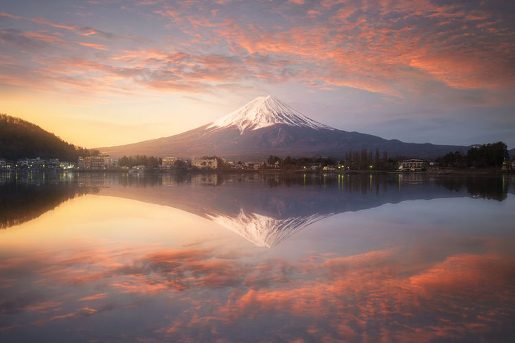 Scenic View Of Calm Lake And Mt Fuji Against Sky During Sunset