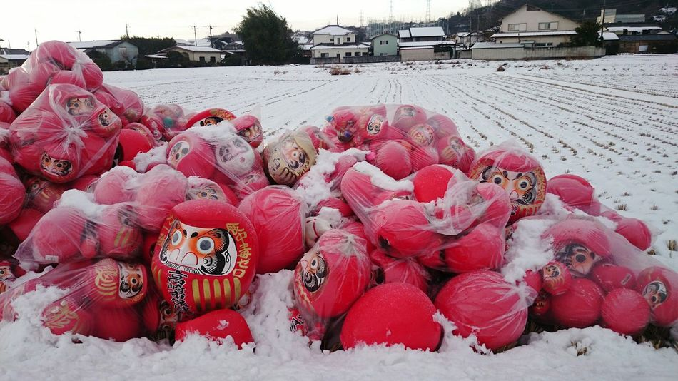 Outdoors Japanese  Japan 高崎市 群馬県 White 正月 Snow Daruma Doll Darumadoll ダルマ 達磨