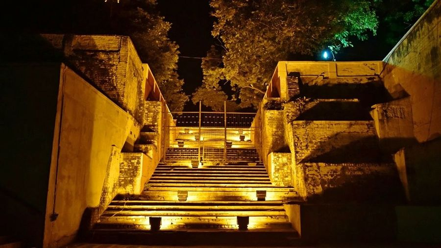 Paint The Town Yellow Staircase Stairway Yellow Lights Decoration Structures And Architecture Steps