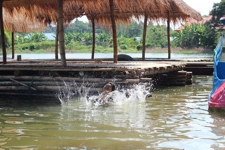 Water splashing in lake