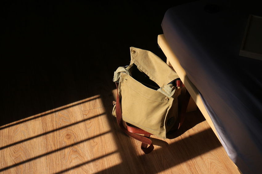 Wood Bag Close-up Day Floor Hardlight High Angle View Indoors  No People Shadow Sunlight