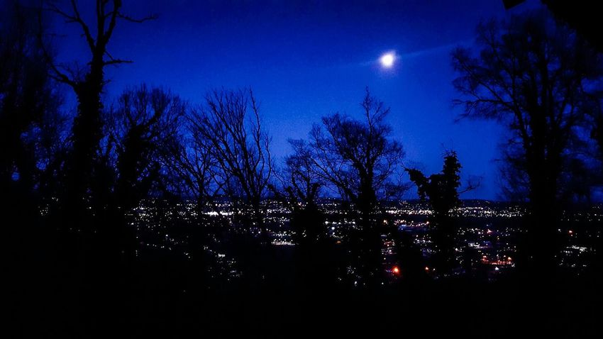 Night Silhouette Sky Tree No People Outdoors Moon Nature Star - Space Astronomy Tranquility Cityscapes Chattanooga Tennesse Lookout Mountain