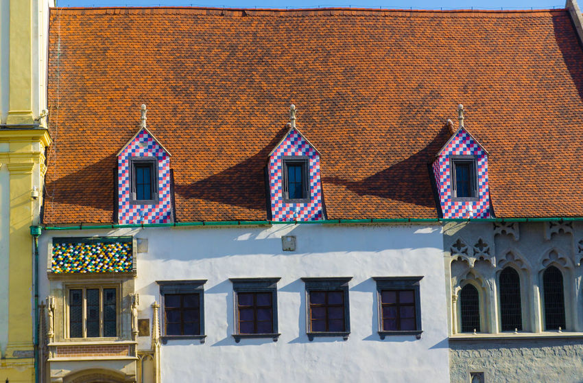 Bratislava, Slovakia old town Architecture Blue Bratislava, Slovakia Building Building Exterior Built Structure Day Exterior Façade Low Angle View Multi Colored No People Outdoors Residential Building Residential Structure Side By Side Sky