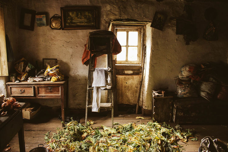 Old Farmhouse Old Room  Abandoned Cabinet Chair Corn Day Domestic Room History Home Interior Indoors  Messy Old Building  Old House Old Table Real People Window