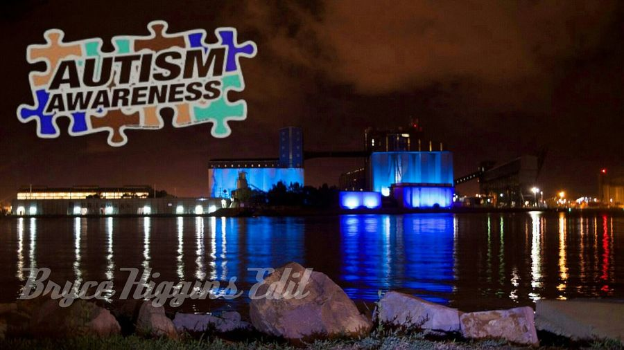 Reflections Water Reflections Autism Autism Awareness Landscape AutismSpeaks Grain Silos in Newcastle Harbour illuminated blue for Autism Awareness Week ♡♡♡