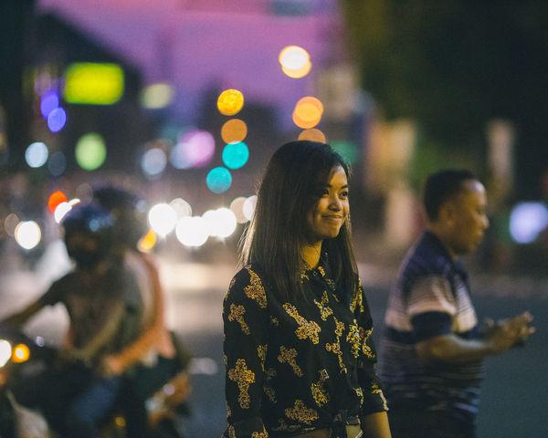 Close-up Defocused Focus On Foreground Illuminated Lifestyles Multi Colored Night Portrait Selective Focus