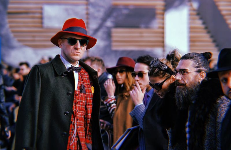 Firenze Pittiuomo Hat Streetfashion Huji Group Of People Clothing Hat Men Adult Women Togetherness Fashion Well-dressed Males  Real People People Lifestyles The Fashion Photographer - 2018 EyeEm Awards Redefining Menswear