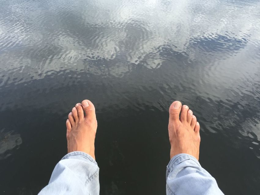 Feet Nature Lake Relaxing Water Water Reflections Minimal Two Is Better Than One