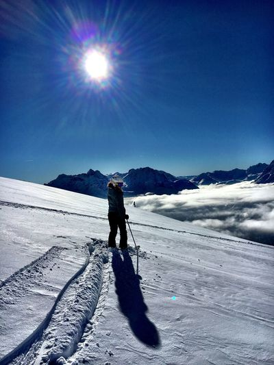 Pure fun Snow Winter Cold Temperature One Person Sunlight Sky Full Length Nature Mountain Winter Sport Sun Beauty In Nature Shadow Lifestyles Sunbeam Mountain Range Day Leisure Activity My Best Photo